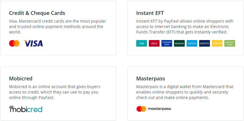 Payfast Payment Methods