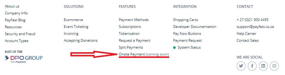 Payfast Onsite payments